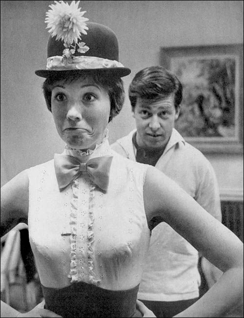 "Julie Andrews and husband Tony Walton behind the scenes of ""Mary Poppins"""