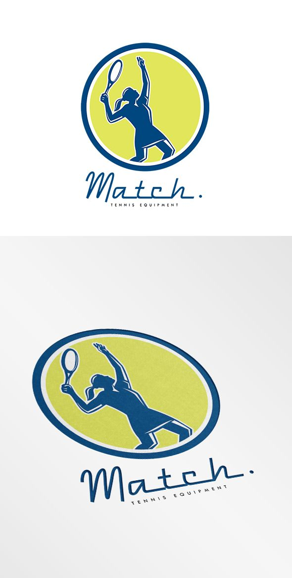 Match Tennis Equipment Logo. Logo showing illustration of a female tennis player holding racquet serving set inside circle shape on isolated background done in retro style. 100% re-sizeable
