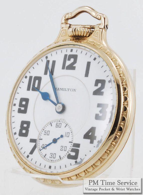 Hamilton grade 992 vintage pocket watch, 16 Size, 21 Jewels, heavy yellow gold filled screw back & bezel case. $345, on Etsy.