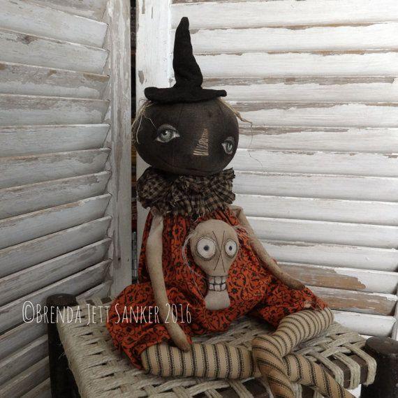 OOAK DOLL Primitive Folk Art Halloween Pumpkin by brendasanker