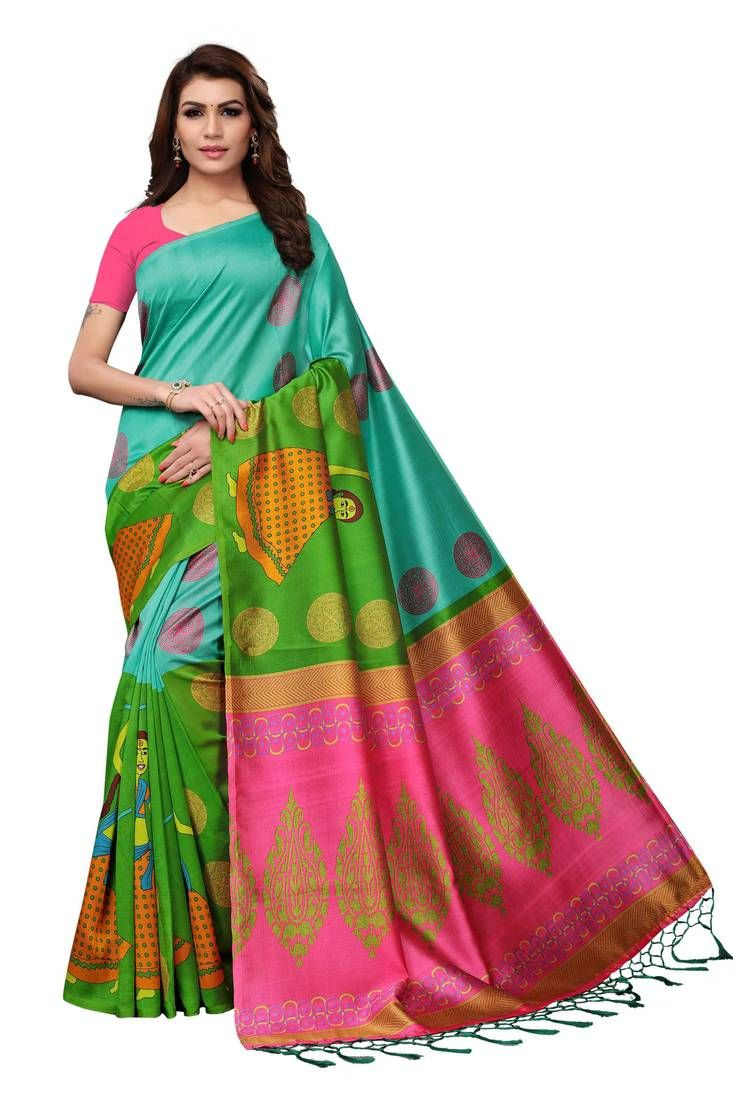 f0d7472af5df9 Multicolor printed silk blend saree with blouse in 2019   Online ...