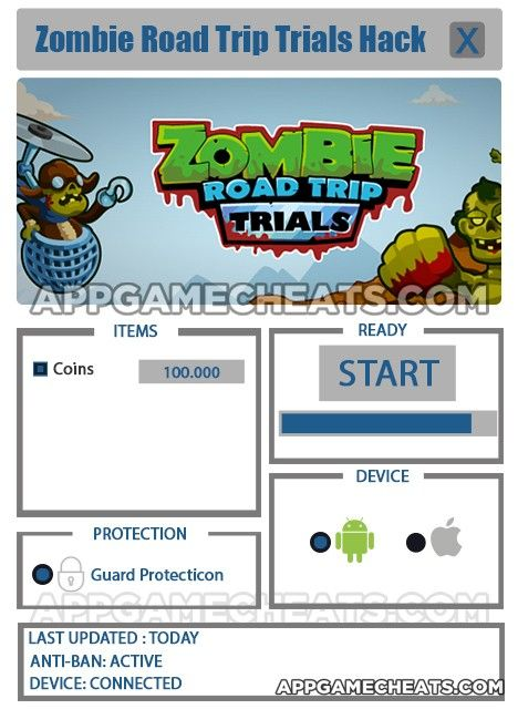 Zombie Road Trip Trials Hack Cheat 2016 tool download. With updated Zombie Road Trip Trials Hack you will have just fun. Try Zombie Road Trip Trials Hack tool. Zombie Road Trip Trials Hack working with last update.