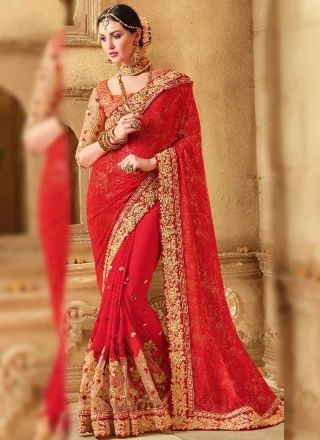 Red Embroidery Booti Work Georgette Net Fancy Wedding Sarees http://www.angelnx.com/Sarees/Bridal-Sarees
