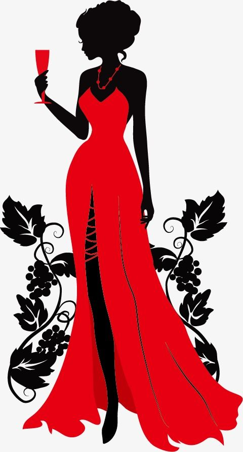 Wearing A Beautiful Red Dress, Silhouette Figures, Wineglass, Beauty PNG and Vector with Transparent Background for Free Download – Дамы для творчества