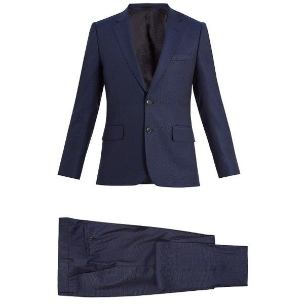 Paul Smith Single-breasted wool suit (1,247,640 KRW) ❤ liked on Polyvore featuring men's fashion, men's clothing, men's suits, navy, mens navy blue suit, paul smith mens suits, old navy mens clothing, mens wool suits and mens leopard print suit