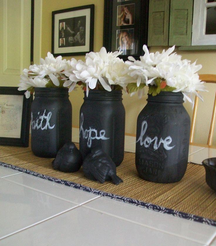 Mason Jar Wall Decor Hobby Lobby : I gave these mason jars coats of chalkboard paint that