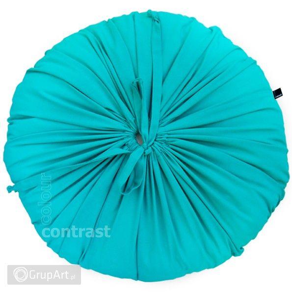 Poduszka ozdobna wraz z wypełnieniem. Przyjemna w dotyku. Wykonana z delikatnej bawełny. - MATERIAŁ: batyst - bawełna - KOLOR: jasny turkusowy - WYMIAR POSZEWKI (bez wypełnienia): średnica ok. 50 cm, zamykana na wiązanie - Można prać w pralce i prasować  #poduszka #handmade #grupart  Inne ozdobne poduszki dostępne na: http://www.grupart.pl/poduszki-i-narzuty-174.html