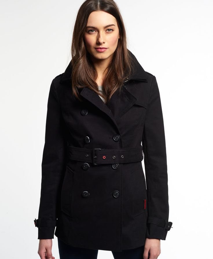 Superdry women's Belle trench coat. This classically styled trench coat in peach skin fabric comes with added Superdry style in the form of the trademark double layer collar and vivid colour eyelets.   eBay!
