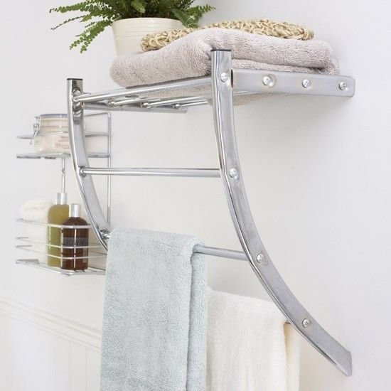 Handy heated towel rail for a small bathroom - warmth and storage in one!