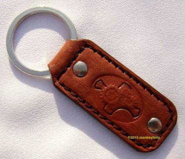 Leather Key Ring / Key Fob - Steampunk - Light Mahogany / Dusty Pink