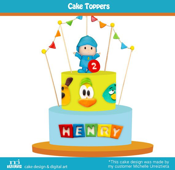 Pocoyo Cake toppers by mjtabush on Etsy
