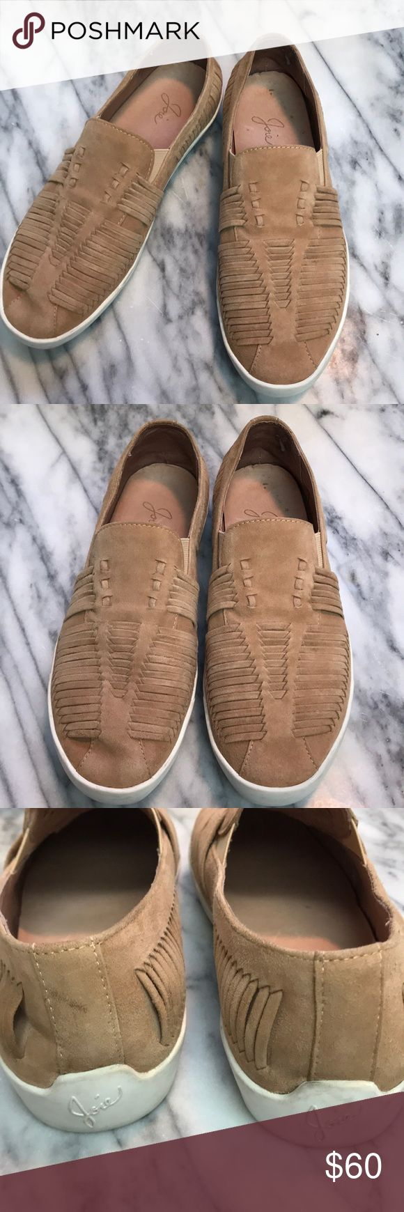 Joie slip ons Light camel color suede slip on tennis shoes by Joie with weaved detail. No box. White soles. Please see pic of left heel with a scuff mark. Soles could use a good wipe down. Joie Shoes Flats & Loafers