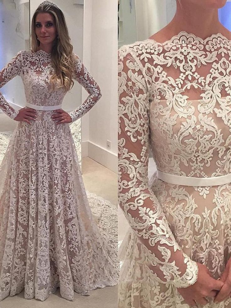 onlybridals Vintage Wedding Dress Lace Boat Neck Long Sleeves Backless Bridal Gown 3