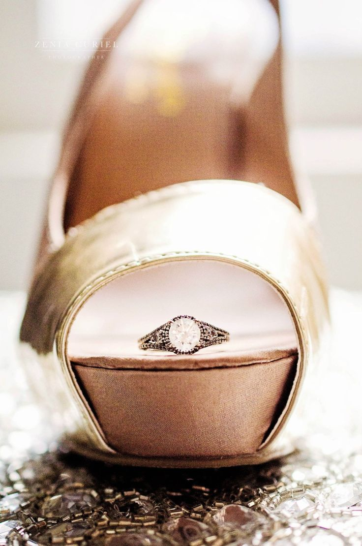 Beautiful engagement ring & wedding shoes