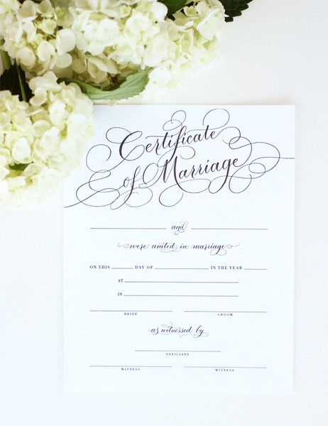 This marriage certificate, filled out with all the details of your big day, would look stunning framed at the wedding reception AND in your newlywed home!  Find it in either black or gold foil in the Southern Weddings Shop!