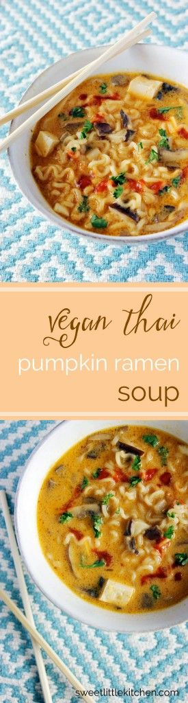 Vegan Thai Pumpkin Ramen Soup is a flavorful and simple soup, bringing together ramen noodles, shiitake mushrooms, and tofu in a broth of coconut milk and pumpkin puree.