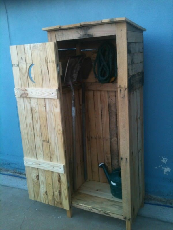Mini Storage Shed Outhouse Look Pallet Cabinets Diy Storage Shed Plans Shed Storage Garden Storage Cabinet