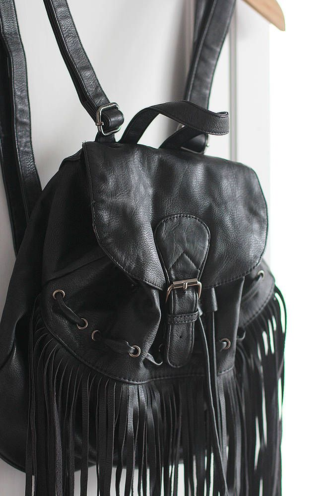Vintage Backpack Black Big Bag Large size Eco Leather Silver