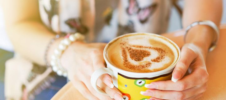 Extra Large Latte coffee, heart shape