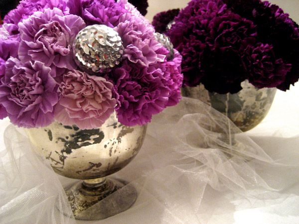 carnation arrangements 1Glasses Container, Holiday Parties, Mercury Glasses, Floral Design, Purple Carnations, Money Savers, Parties Ideas, Wedding Flower, Carnations Centerpieces