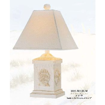 Shell Box Mini LampOur collection of beach lamps feature coastal designs with beach style.  This coastal lamp base is decorated with scallop sea shells and sand dollars.  It is a stylish piece that provides a fun coastal accent for any room.    Beach Lamp Features:   Three way   switch 40 watt Dimensions:� 20 1/2