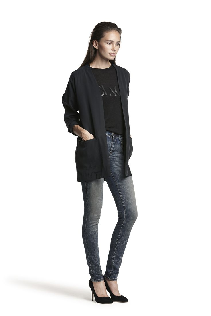 Galana wool top, Fiona blazer and Gold hw slim jeans #dark #gold #black #fashion #perfectfit #cosy #warm #AW15