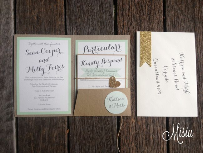 Mint and Glitter Gold Pocket Folder Wedding Invitation Set by Misu