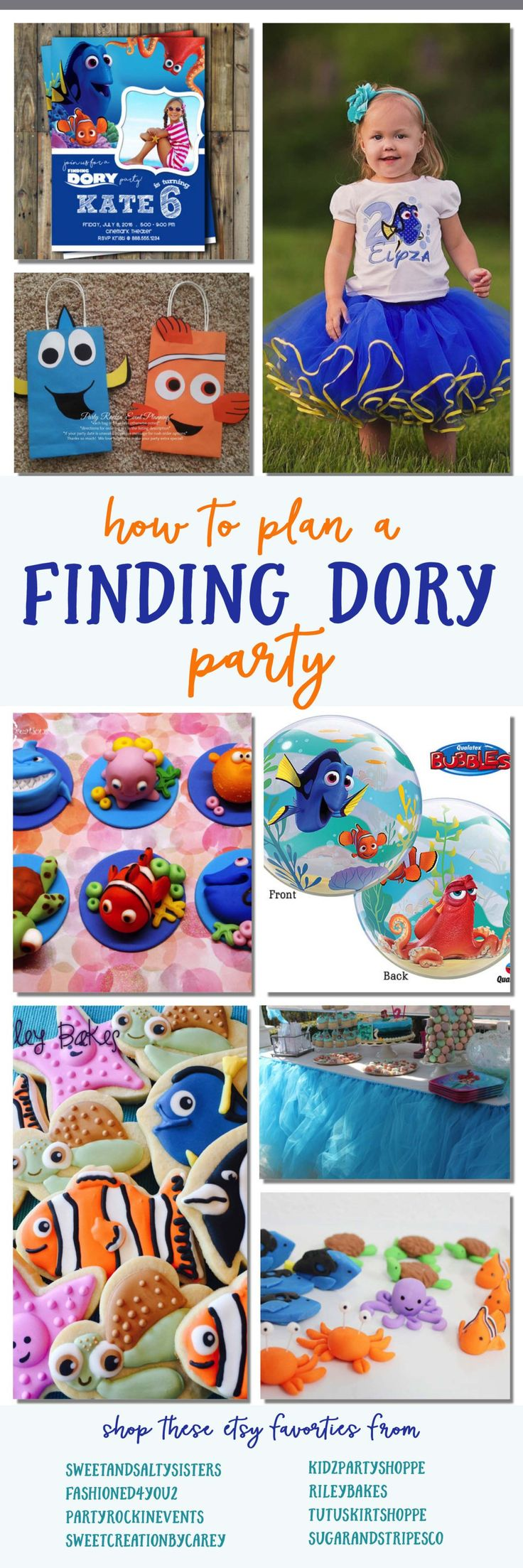 Finding Dory party ideas, Finding Nemo Birthday party planner! Links to lots of cute invitations, decorations, birthday outfits, cakes, cupcakes and party favors