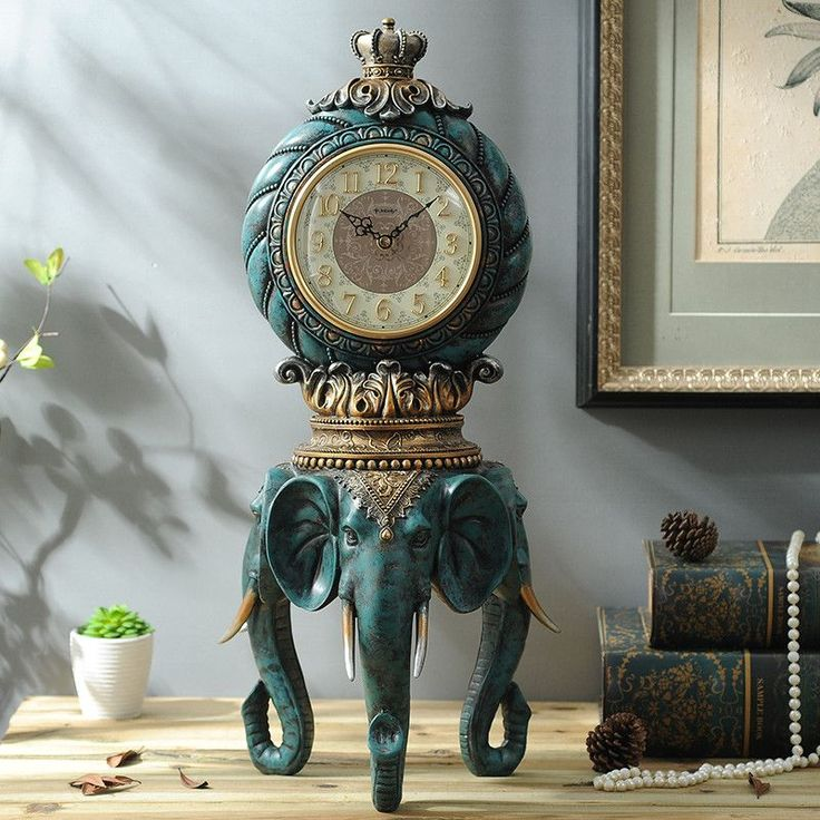 Luxury European Style Retro Decor Clock Room Home Furnishing Mute Lucky  Elephant. Home Decoration Accessories