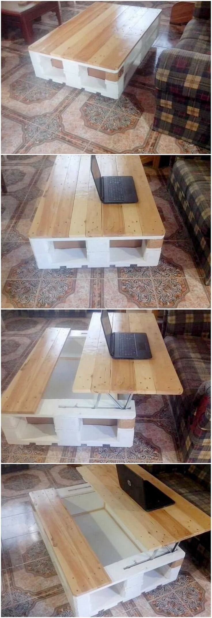 DIY Pallet Lift-Up Top Laptop Coffee Table