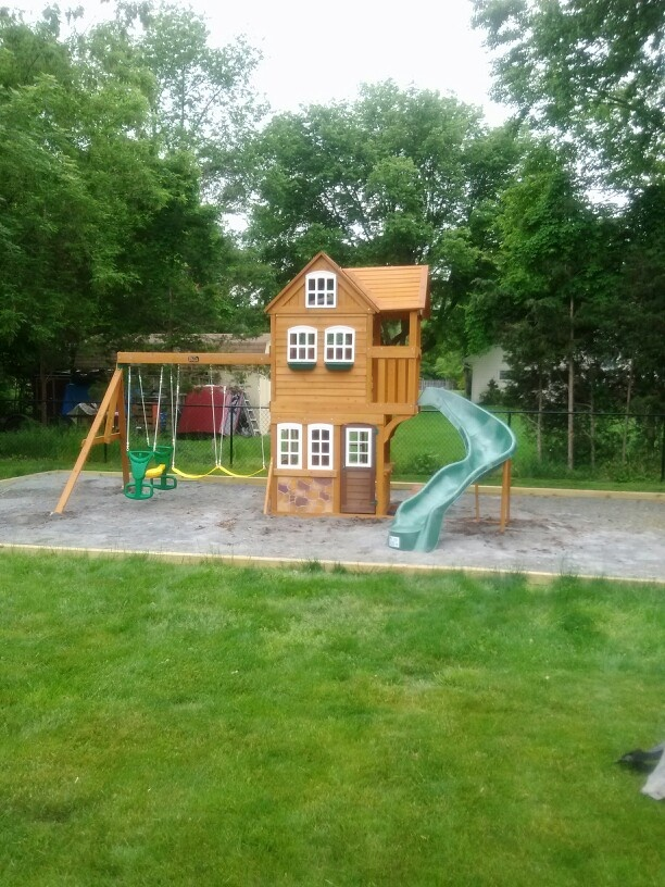 big backyard stonefield lodge playset from toys r us installed in