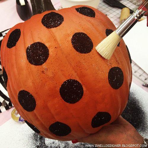 Polka Dot Glitter Pumpkins