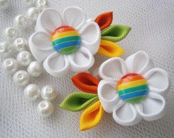 Handmade Kanzashi girls toddler baby hair clips bows- buy in UK,shipping worldwide