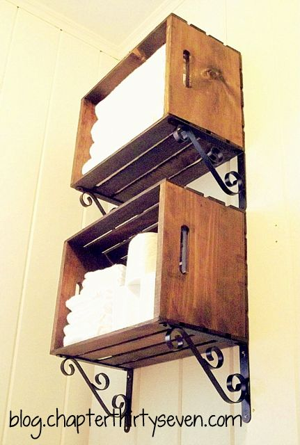 Great idea for downstairs bathroom wood crate shelves by chapter37 ... perfect idea for over the porch door to keep our wellies in!