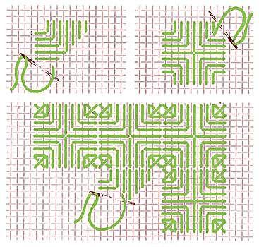 Triangle stitch--Hardanger.