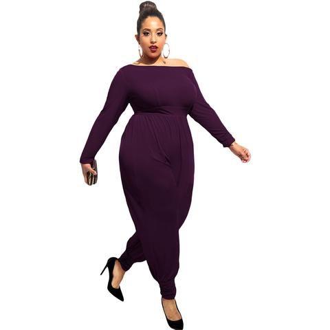 Elegance Purple Off-Shoulder Long Sleeves Plumpy Plus Size Jumpsuit Sale LAVELIQ