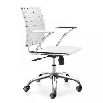 The Criss Cross White Leather Office Chair by Zuo Modern features a gorgeous white leatherette seat and a finely-crafted woven patterned back. Classic good looks are combined with true workspace functionality.