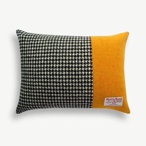 Harris Tweed Luxury Houndstooth & Yolk Accent Block Cushion by Mem McWilliams. £29 via Etsy