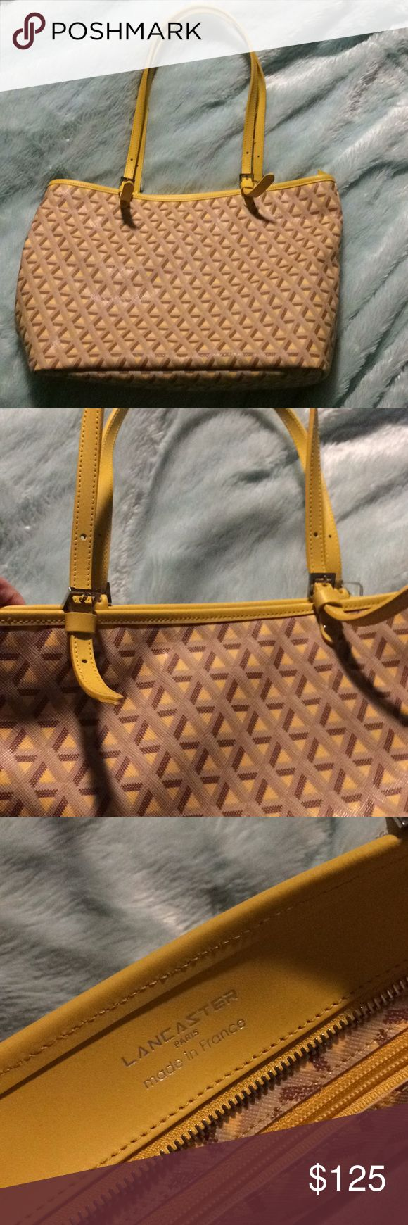 """Lancaster Paris small yellow tote bag NWT. About 12x10"""". Perfect for spring and summer. Leather and fabric mix. No trades. Comes with dust bag lancaster Bags Totes"""