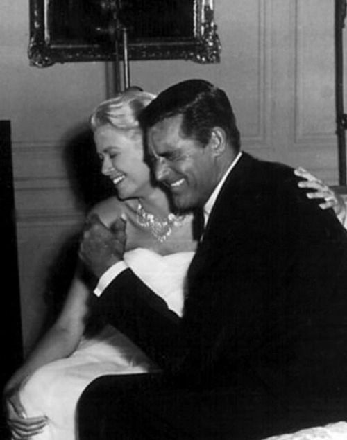Grace Kelly and Cary Grant (I love that they are cracking up in a scene where they are supposed to be making out.)