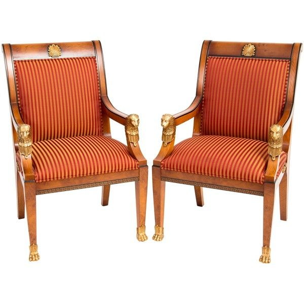 Pre-owned Versace Upholstered Arm Chairs ($4,625) ❤ liked on Polyvore featuring home, furniture, chairs, accent chairs, brown, fabric chairs, second hand chairs, versace, brown accent chairs and brown armchair