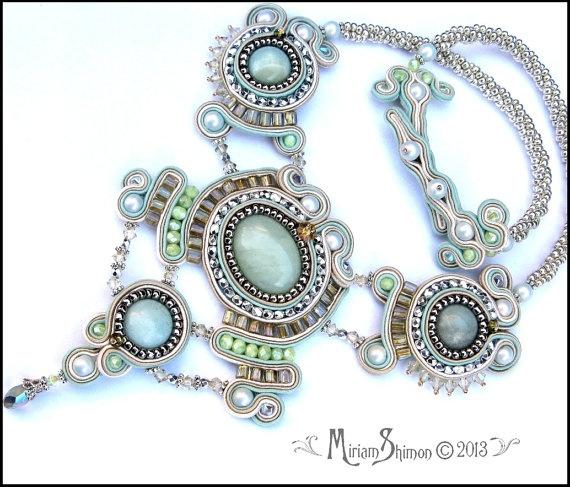 Soutache Mint, Silver and Cream necklace. $225.00, via Etsy.
