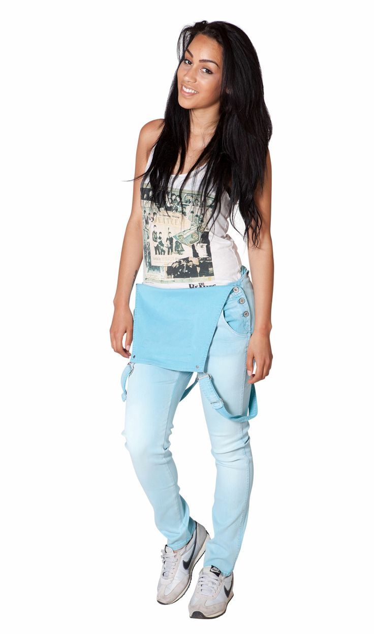 Festival fashion must-have - pastel wash, sky blue slightly stretchy dungarees from Dungarees Online