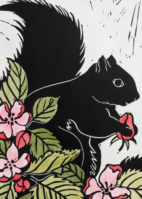 'Squirrel Amongst The Apple Blossom' By Printmaker Katharine Green. Blank Art Cards By Green Pebble. www.greenpebble.co.uk