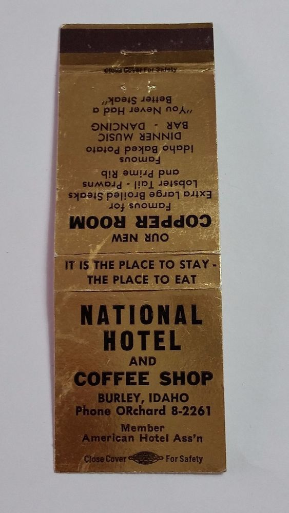 National Hotel And Coffee Burley Idaho Matchbook Matchcover