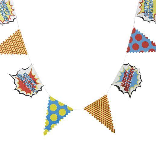 "Papiergirlande ""Happy Birthday"" – Pop Art Superhero"
