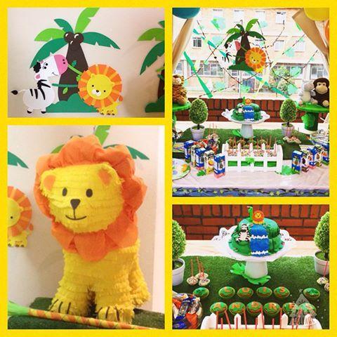 Fiesta de animalitos de la jungla, piñata de león, decoración de la mesa del ponque y aplicaciones en foamy para el backing #piñata #mesadedulces #fiestastematicas #fiestasinfantiles #leon #piñata #bogota #piñapiñata