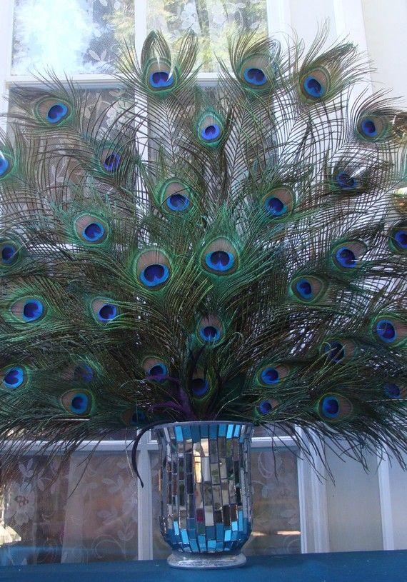 Custom Peacock Spray Centerpiece  $175.00