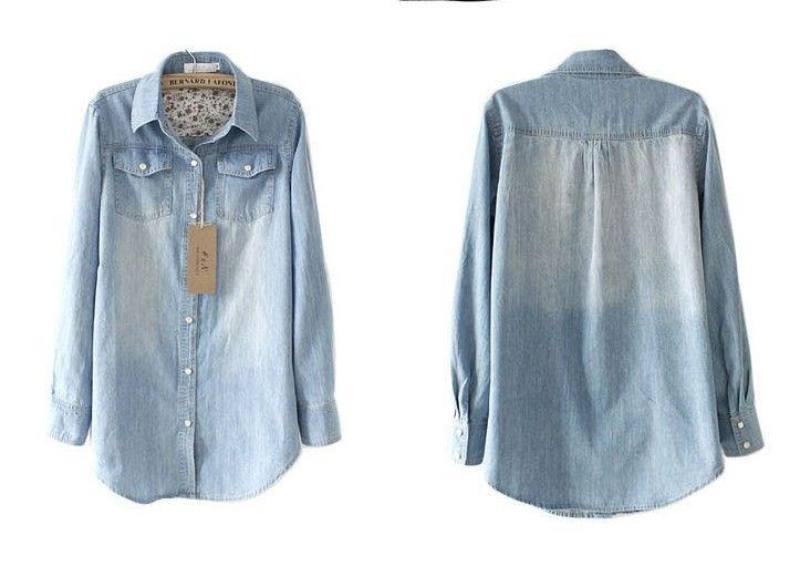Free shipping jeans shirt casual denim shirt women long sleeve washed denim shirt bousa women 140107005 clothing -in Denim Clothings from Ap...