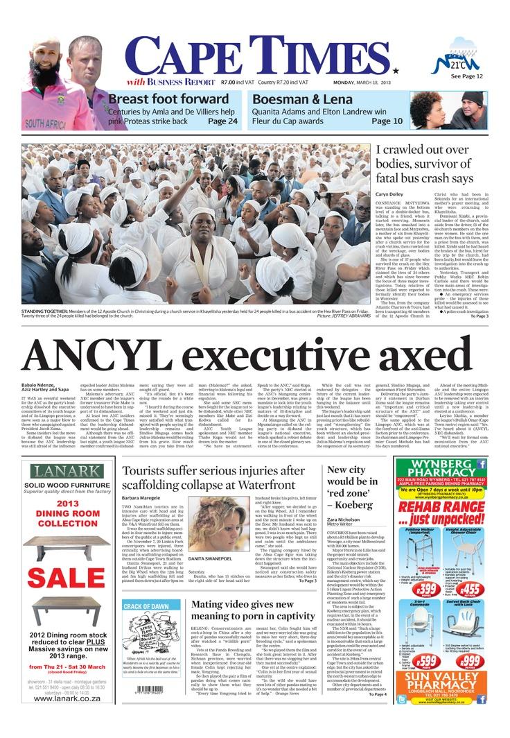 News making headlines:   ANCYL executive axed